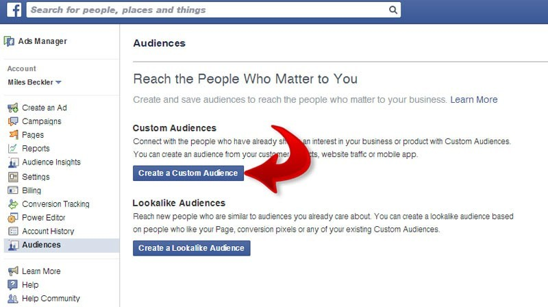 create a custom fb audience