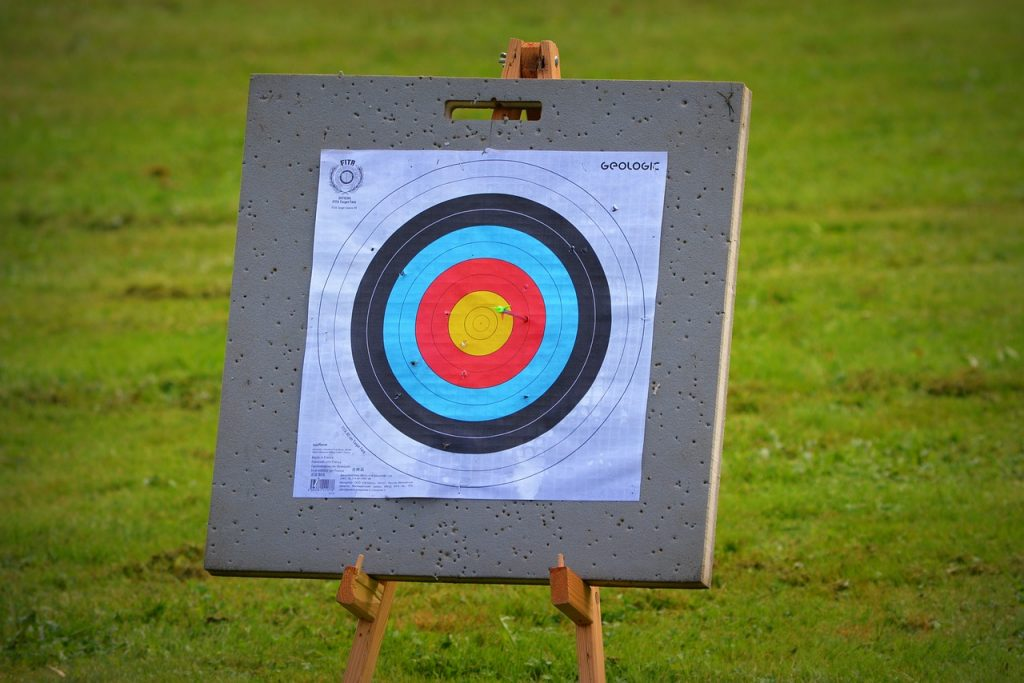 A picture of an archery target reminding you that in online marketing, focus is key